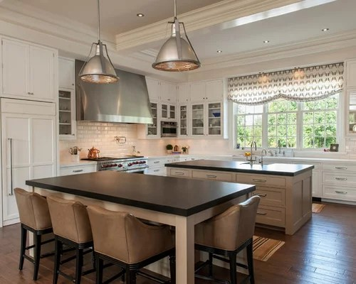 eat kitchen design photos subway tile splashback multiple transitional eat kitchen multiple islands design ideas