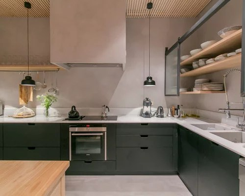 large scandinavian shaped enclosed kitchen idea barcelona scandinavian kitchen design ideas remodel pictures houzz