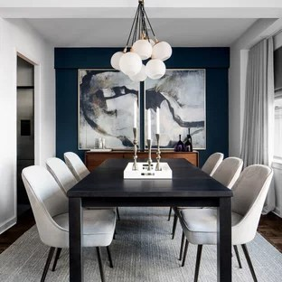 75 Beautiful Dining Room With Blue Walls Pictures Ideas - Dining Room Decoration Modern