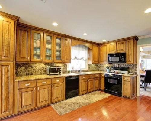 backsplash color black kitchen design photos medium tone wood inspiration small transitional single wall eat kitchen