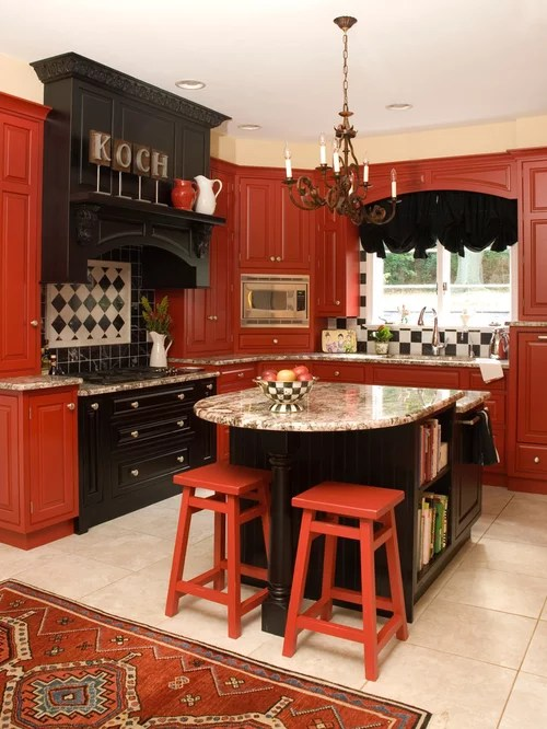 Red And Black Kitchen Red And Black Kitchen Home Design Ideas, Pictures, Remodel
