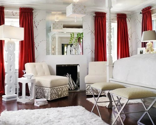 Red Curtains Houzz - red curtains for living room