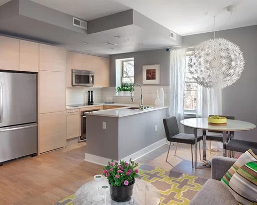 photo small contemporary shaped open plan kitchen dc metro small shaped eat kitchen design photos flat panel