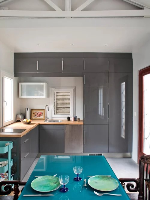 ikea shaped kitchen design ideas remodels photos gray small contemporary shaped eat kitchen idea moscow flat