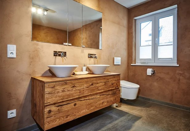 Holz Bad Rustikaler Altholz Chic In Einem Modernen Bad
