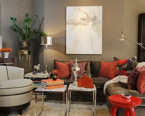 Taupe Red Houzz - red and brown living room