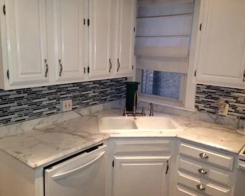 calacatta fantastico marble tile kitchen design ideas renovations inspiration small transitional single wall eat kitchen