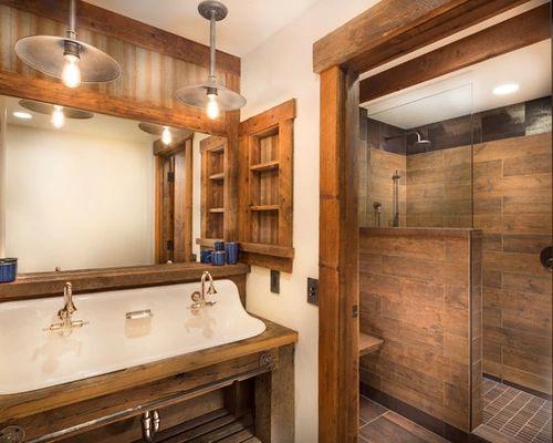 191 rustic bathroom with a trough sink design ideas