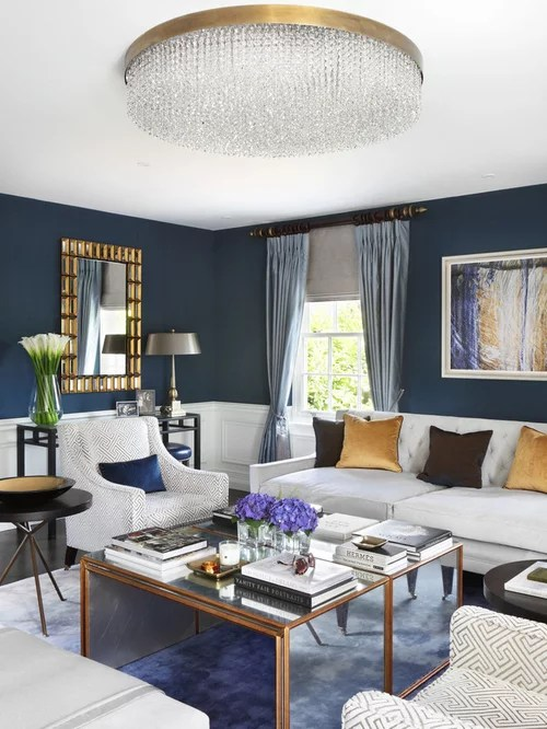 Blue Gold Living Room Houzz - gray and gold living room