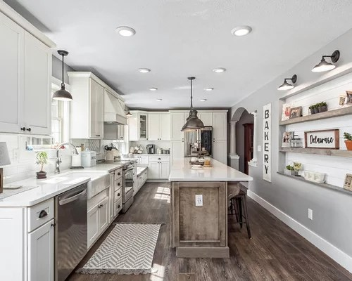 Ferguson Kitchen Cabinets White Subway Tile Backsplash Ideas | Houzz
