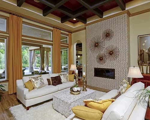 Tropical Living Room with Yellow Walls Ideas \ Design Photos Houzz - tropical living room furniture