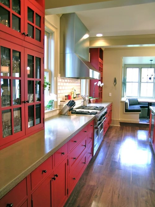 Classic Kitchen Cabinets Inc Modern Red Farmhouse | Houzz