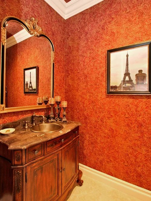 Red powder room design ideas remodels amp photos with a