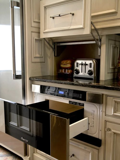 U Shaped Kitchen Design With Island Dacor Microwave Drawer | Houzz