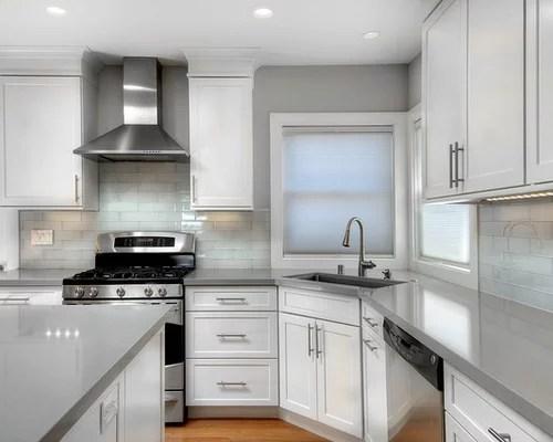 kitchen design photos glass tile backsplash white cabinets inspiration small transitional single wall eat kitchen