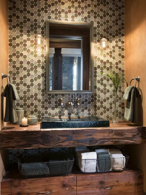Rustikale Badmöbel Holz Rustic Powder Room Design Ideas, Remodels & Photos