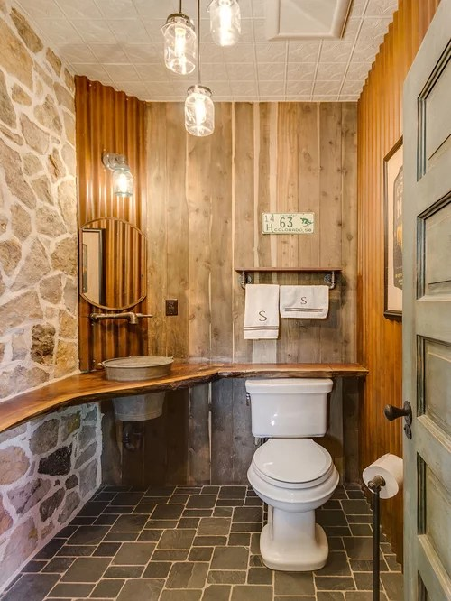 Rustic Bathroom Design Ideas Renovations Photos With Mosaic Tile Flooring