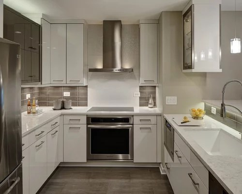small shaped kitchen design ideas renovations photos small contemporary shaped eat kitchen idea moscow flat