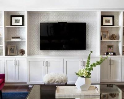 Wallpaper Behind Tv | Houzz