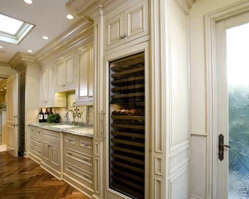 Kitchen Dark Countertops An D Cabinets Built In Wine Cooler | Houzz