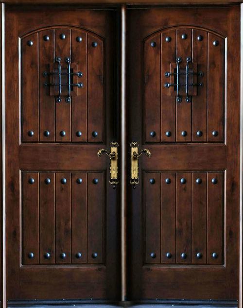 """Knotty Alder Exterior Front Entry Double Door 30""""X80""""X2, Left Hand"""