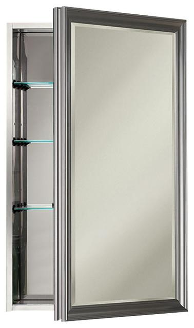 """Studio V 15"""" x 25"""" Satin Nickel Medicine Cabinet"""