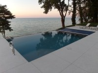 Infinity Edge Fiberglass Pool with Automatic Cover - Beach ...