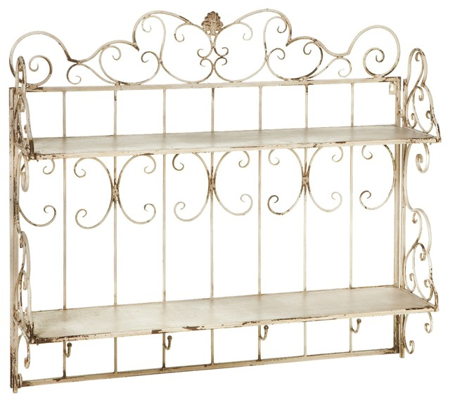 Oversize Distressed Ivory Scroll Wall Shelf Contemporary