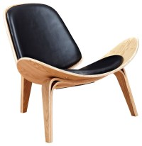 Duo Co Modern Leather Lounge Chair, Shell Mid-Century, Ash ...