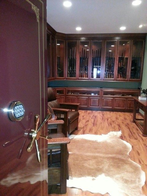 Cowhide Bar Stools Gun Room - Traditional - Basement - St Louis - By K-build