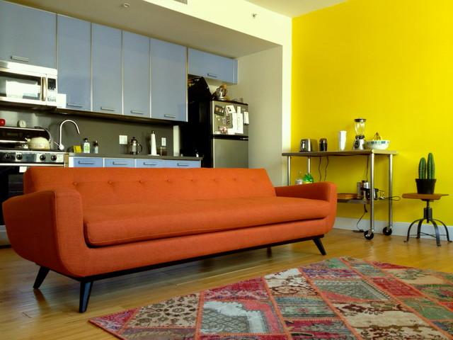 Mid-Century Modern Orange Chenille Sofa - The Sofa Company - mid century modern living room