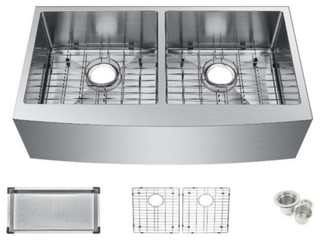 35quot Undermount Apron 50 50 Double Bowl Kitchen Sink With