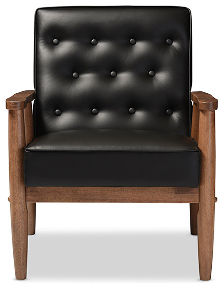 Black Friday Convertible Sofas Sorrento Retro Upholstered Wooden Lounge Chair