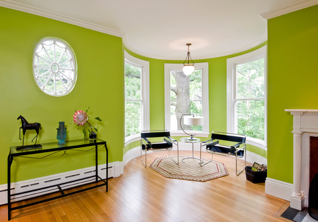 Bright Green Living Room - Eclectic - Living Room - Boston - by - green living rooms
