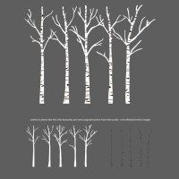 Birch Trees Silhouettes Forrest Wall Decal - Contemporary ...
