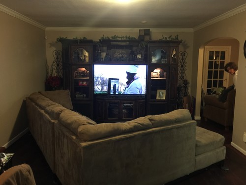 Angling sectional in long narrow living room - living room with sectional