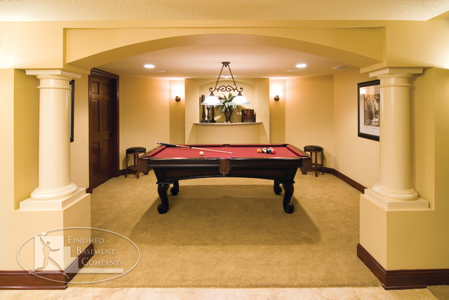 Basement Pool Table Room - Traditional - Basement - Minneapolis
