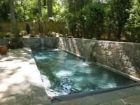 Lap Pool with Sheer Descent Waterfalls and Retaining Walls ...