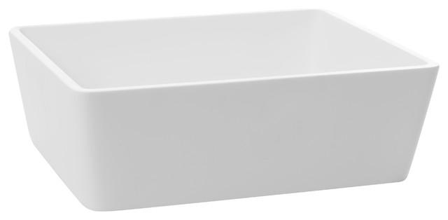 Cp White Rectangular Vessel Sink Above Counter Sink