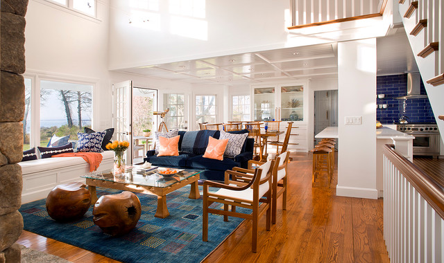 Coastal Living Room - Beach Style - Living Room - Bridgeport - by - coastal living room furniture