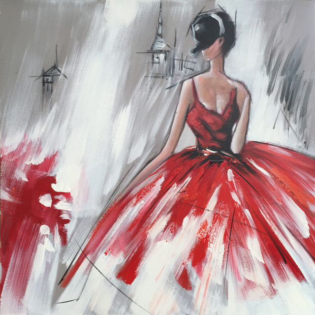 abstract hand painted dancing girl in red dress ii oil painting contemporary paintings
