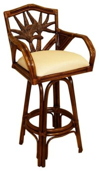 Indoor Swivel Rattan & Wicker Counter Stool with Cushion ...