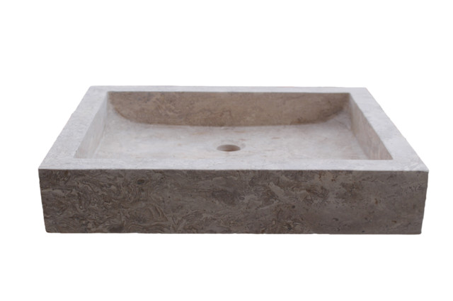 Rectangular Angled Flow Natural Stone Vessel Sink