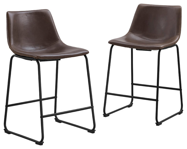 Faux leather counter stools set of 2 contemporary bar