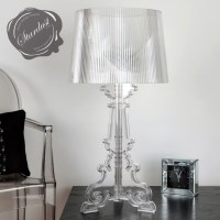 Bedroom Design Idea with Transparent Bourgie Table Lamp ...