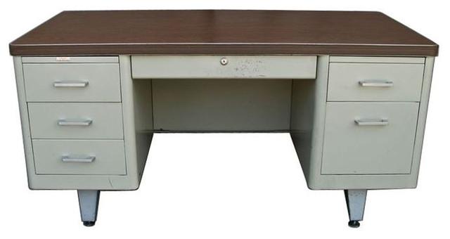Vintage Metal Double Pedestal Tanker Desk - $1,600 Est Retail