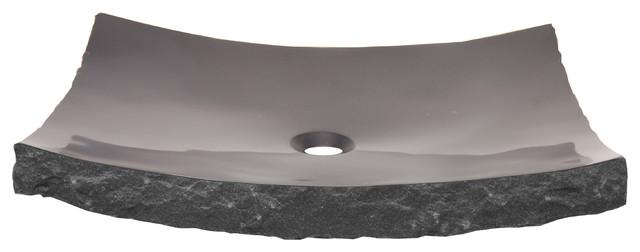 Eden Bath S014bk P Large Black Granite Zen Sink