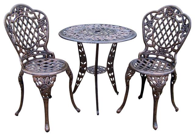 3 Pc Bistro Table Set In Antique Bronze Tea Rose