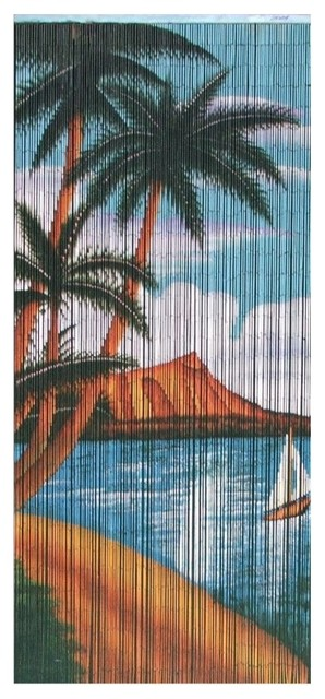 Bamboo Palm Beach Serenity Scene - Contemporary - Curtains - by