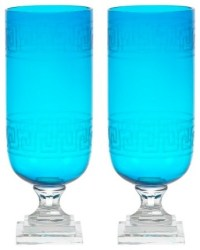 - Aqua Greek Key Glass Hurricane Lamp Lantern, Set of 2 ...